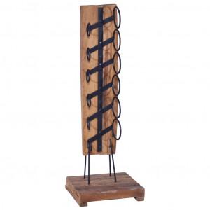 Suport 6 sticle de vin, 35x35x100 cm, lemn masiv de tec