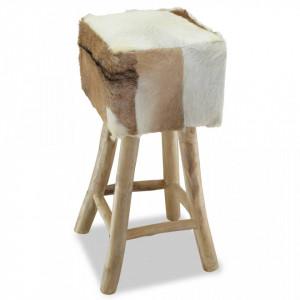 Taburet de bar, piele naturală și lemn masiv de tec