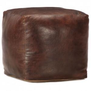 Taburet maro închis 40x40x40 cm piele naturală de capră