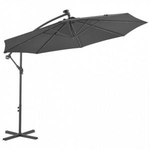 Umbrelă suspendată cu LED și stâlp din oțel, antracit, 300 cm