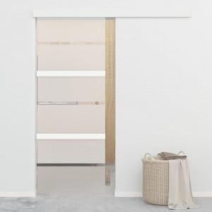 Ușă glisantă, argintiu, 76 x 205 cm, sticlă ESG și aluminiu