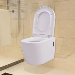 Vas toaletă cu montare pe perete, ceramică, alb