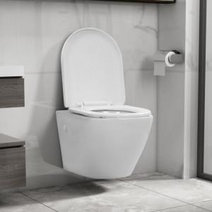 Vas WC suspendat fără ramă, alb, ceramică