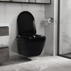 Vas WC suspendat fără ramă cu funcție de bideu, negru, ceramică