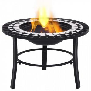 Vatră de foc cu mozaic, negru și alb, 68 cm, ceramică