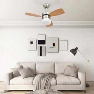 Ventilator tavan cu iluminare/telecomandă, maro deschis, 76 cm