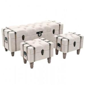 Set bancă depozitare 3 buc, lemn masiv și oțel, 112x37x45 cm