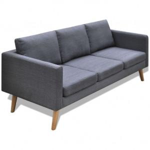 Canapea cu 3 locuri, material textil, gri închis