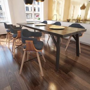 6 buc Scaun bucătărie din lemn curbat și tapițerie din material textil