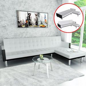 Canapea extensibilă în formă de L, piele artificială, alb