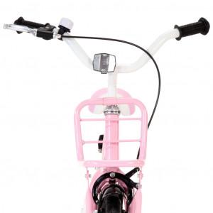 Bicicletă copii cu suport frontal, alb și roz, 16 inci