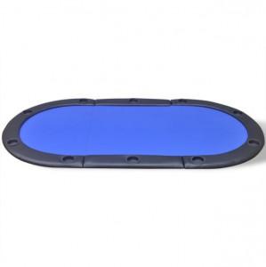 Blat de masă de poker pentru 10 jucători, pliabil, albastru