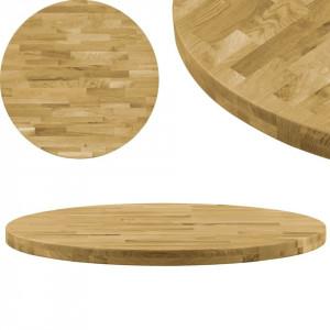 Blat de masă, lemn masiv de stejar, rotund, 44 mm, 900 mm