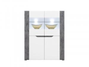 Brando b4 vitrina white/beton/white high gloss