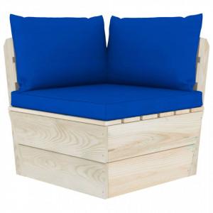 Canapea colțar de grădină din paleți cu perne lemn molid tratat