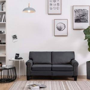 Canapea cu 2 locuri, gri închis, material textil
