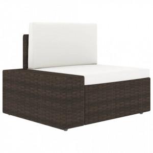 Canapea de colț modulară cu cotieră dreapta, maro, poliratan