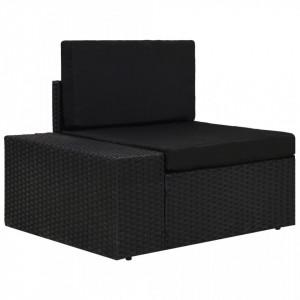 Canapea de colț modulară cu cotieră dreapta, negru, poliratan