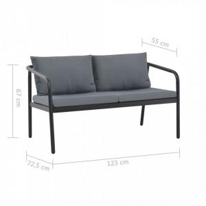 Canapea de grădină cu 2 locuri, cu perne, gri, aluminiu