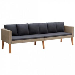 Canapea de grădină cu 3 locuri, cu perne, bej, poliratan
