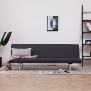 Canapea extensibilă, gri închis, poliester