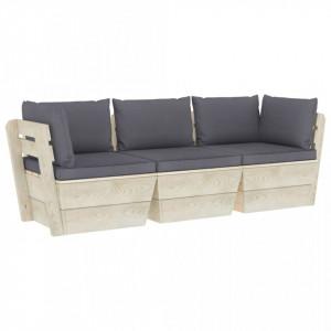 Canapea grădină din paleți cu perne, 3 locuri, lemn de molid
