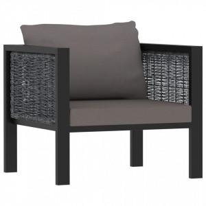 Canapea modulară cu pernă, antracit, poliratan