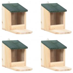 Căsuțe de veverițe, 4 buc., lemn de brad