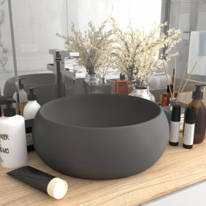 Chiuvetă baie lux, gri închis mat, 40x15 cm, ceramică, rotund