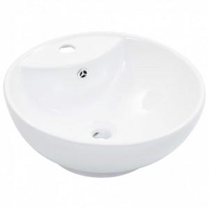 Chiuvetă cu preaplin, alb, 46,5 x 18 cm, ceramică