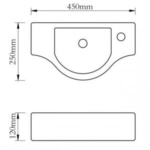 Chiuvetă de baie din ceramică, gaură pentru robinet și preaplin, negru