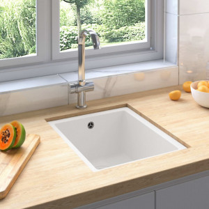 Chiuvetă de bucătărie cu orificiu de preaplin, alb, granit