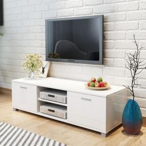 Comodă TV, alb extralucios, 140 x 40,3 x 34,7 cm