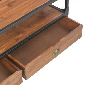 Comodă TV cu 2 sertare, 120 x 30 x 40 cm, lemn masiv din pin