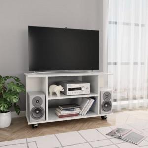 Comodă TV cu rotile, alb foarte lucios, 80 x 40 x 40 cm, PAL