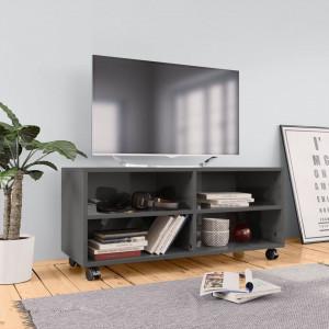 Comodă TV cu rotile, gri extralucios, 90x35x35, PAL