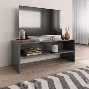 Comodă TV, gri foarte lucios, 100 x 40 x 40 cm, PAL
