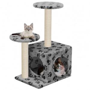 Copac de pisică cu turnuri de sisal, 60 cm, imprimeu cu lăbuțe, gri