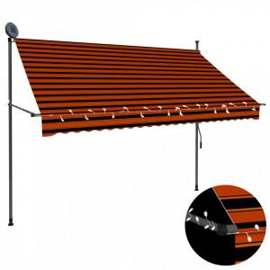 Copertină retractabilă manual cu LED, portocaliu & maro, 250 cm
