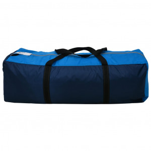 Cort camping textil, 9 persoane, albastru închis și albastru
