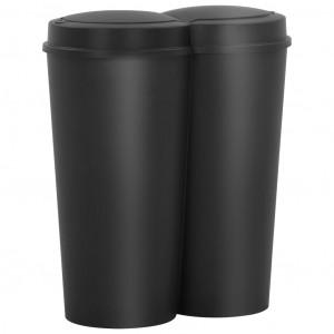 Coș de gunoi dublu, negru, 50 L