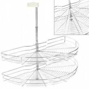 Coș sârmă bucătărie 2 rafturi,180 grade, argintiu, 85x44x80 cm