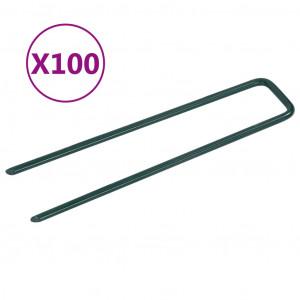 Cuie pentru iarbă artificială, 100 buc., fier, în formă de U