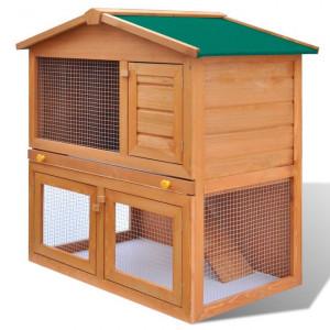 Cușcă de exterior iepuri cușcă adăpost animale mici 3 uși lemn