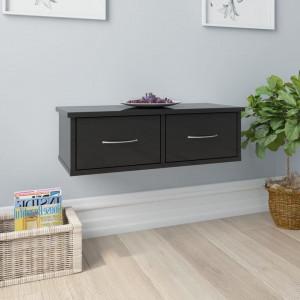 Dulap de perete cu sertare, negru lucios, 60x26x18,5 cm, PAL