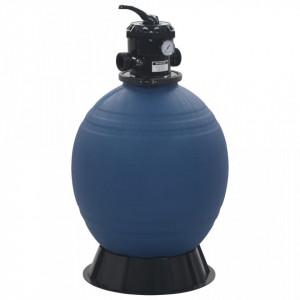 Filtru cu nisip pentru piscină supapă 6 poziții albastru 560 mm