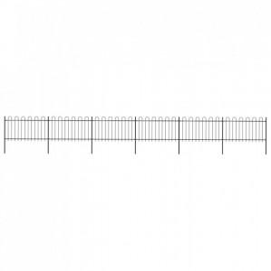 Gard de grădină cu vârf curbat, negru, 10,2 x 1 m, oțel