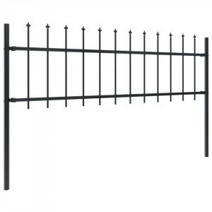 Gard de grădină cu vârf suliță, negru, 10,2 x 0,6 m, oțel