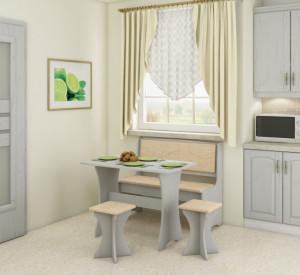 kitchen set with stools | MONACO/CRAFT WHITE