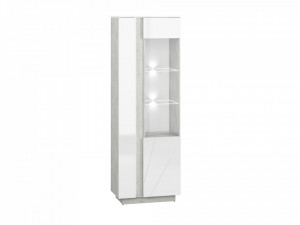 Lumens 03 display vitrina deschidere dreapta beton/white high gloss